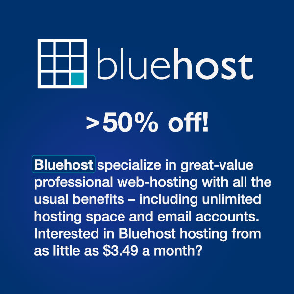 Bluehost specialize in great-value professional web hosting with all the usual benefits - including unlimited hosting space and email accounts. Interested in a Bluehost deal offering hosting from as little as $3.95 a month (click for deal)?