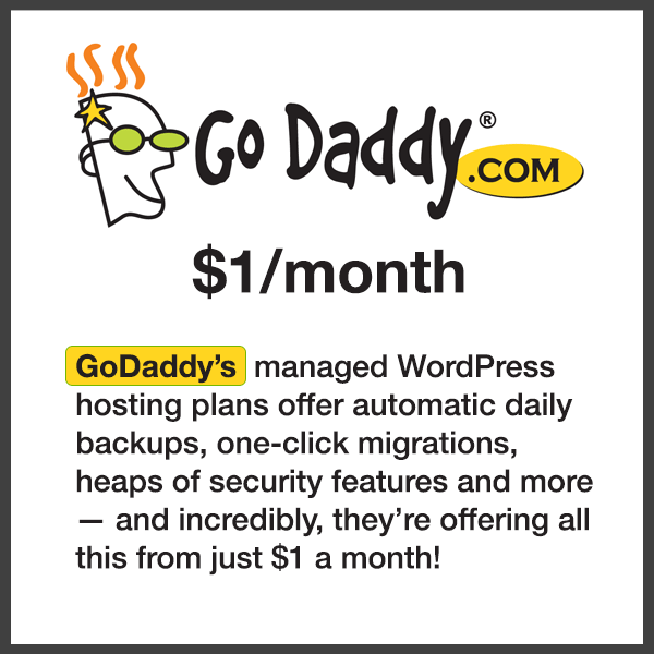 GoDaddy's  managed WordPress hosting plans offer automatic daily backups, one-click migrations, heaps of security features and more — and incredibly, they're offering all this from just 1$ a month!