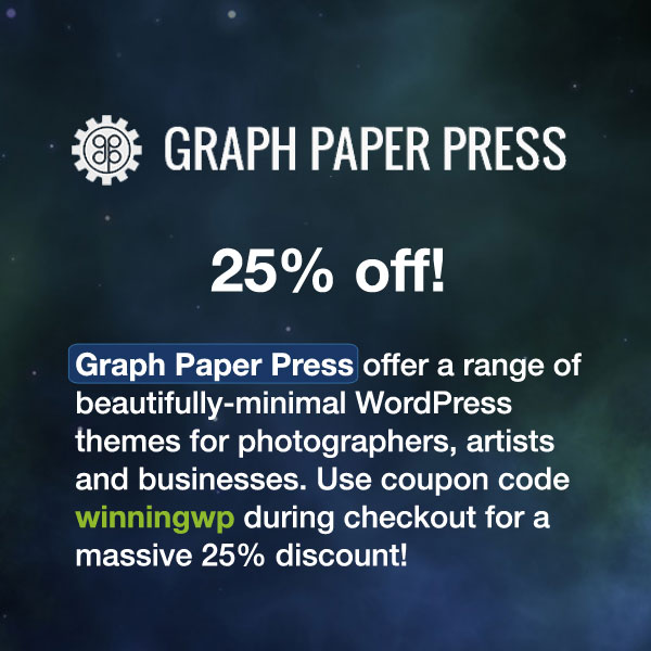 Graph Paper Press offer a range of beautifully-minimal WordPress themes for photographers, artists and businesses. Use coupon code winningwp during checkout for a massive 25% discount!