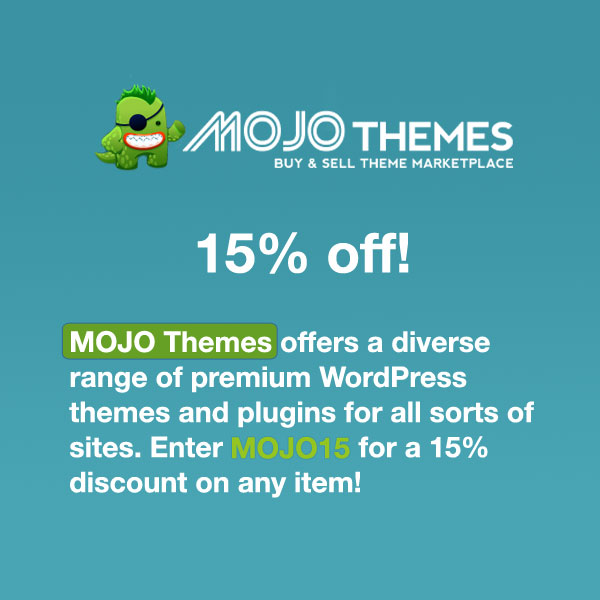 MOJO Themes offers a diverse range of premium WordPress themes and plugins for all sorts of sites. Enter MOJO Themes coupon code MOJO15 for a 15% discount on any theme!