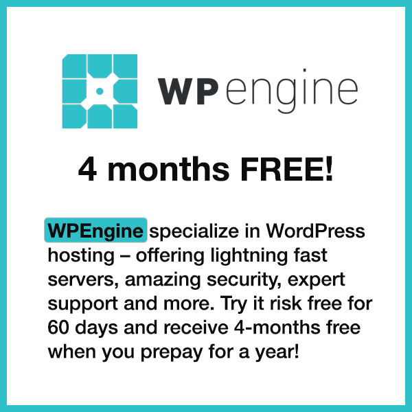 WP Engine specialize in WordPress hosting - offering lightning-fast servers, rock-solid security, expert support and more. Try it risk free for 60 days and receive 5-months free hosting when you prepay for a year (click for deal)!