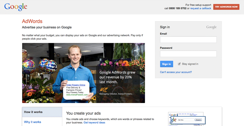 Google Adwords Homescreen