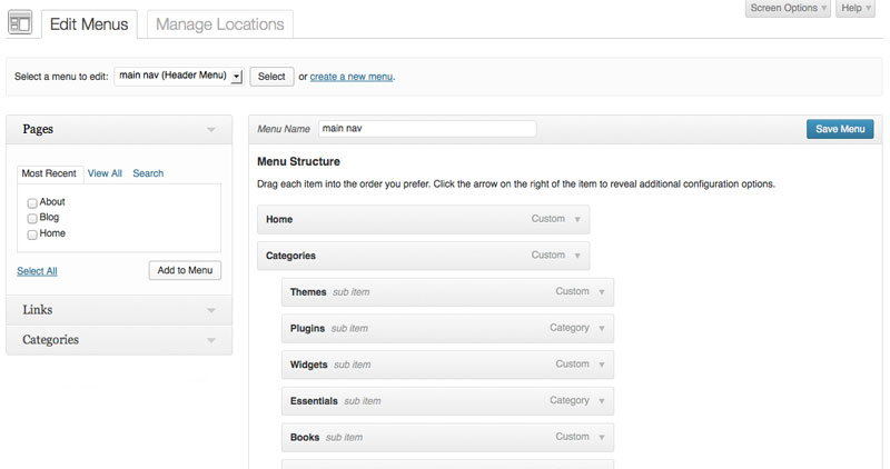 Menus in WordPress 3.6