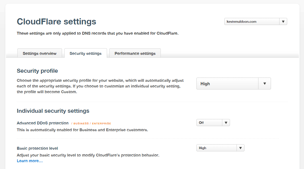 CloudFlare Security Settings