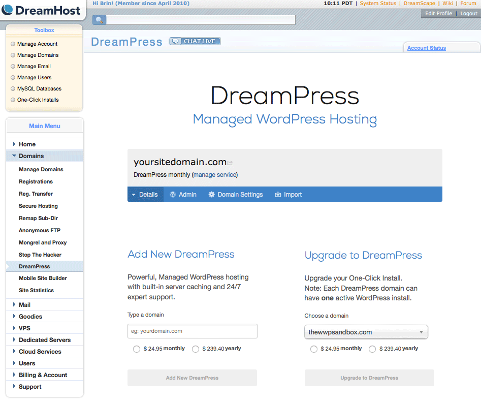 DreamPress 2 Dashboard Screenshot