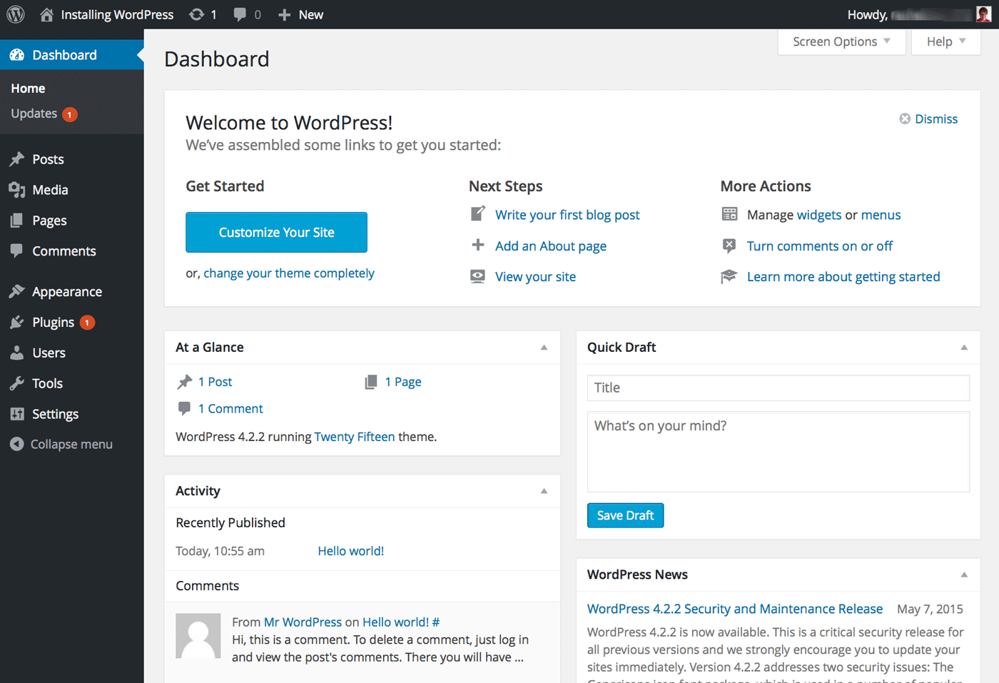 The WordPress man dashboard