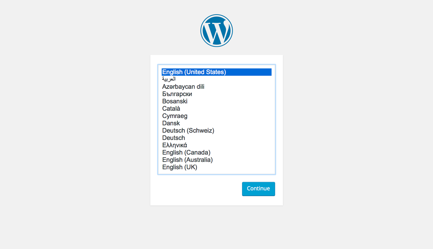 Installing WordPress - pick your language