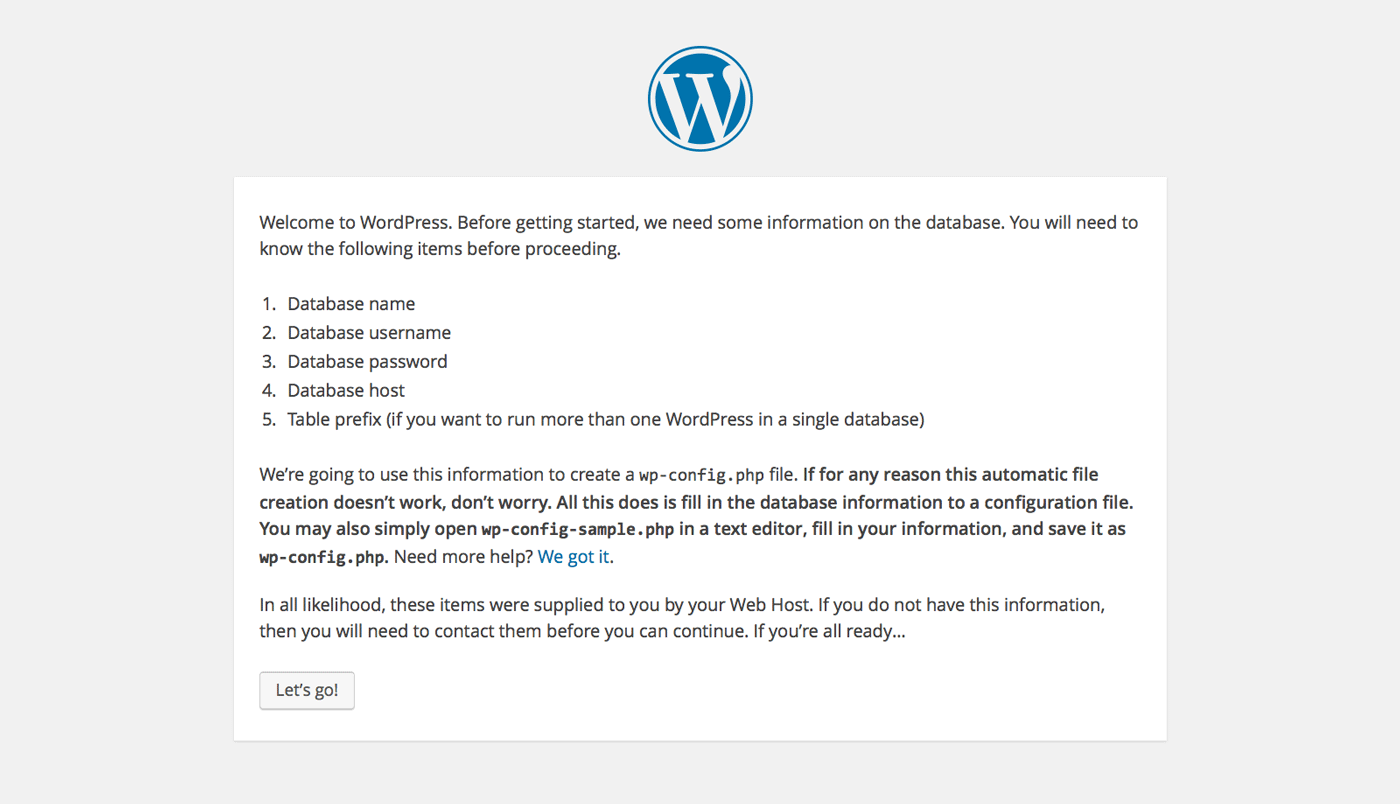Installing WordPress - requirements screen