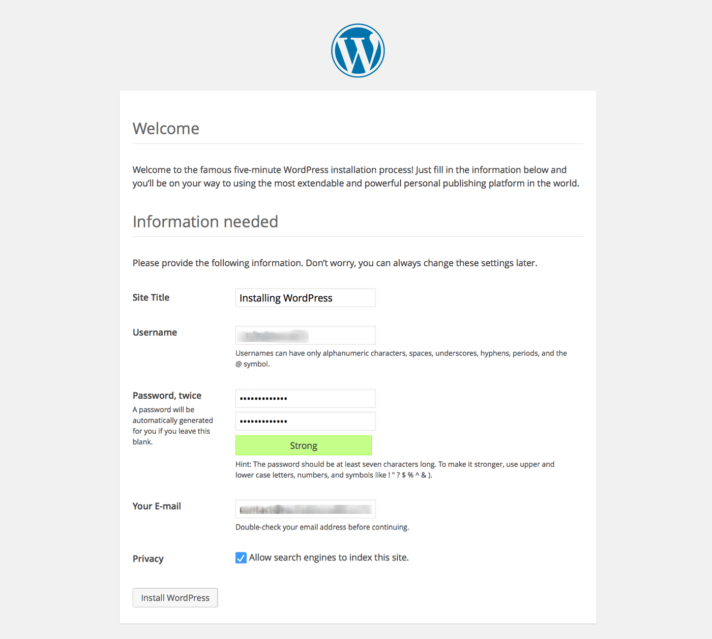 Installing WordPress - site details screen
