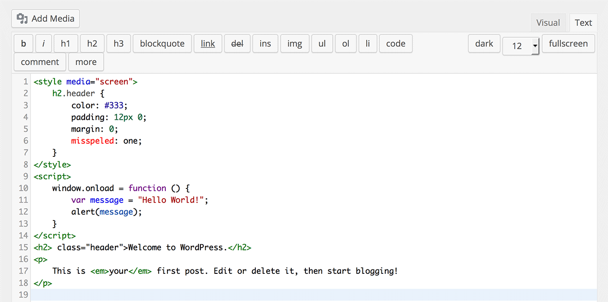 HTML Editor Syntax Highlighter - Screenshot