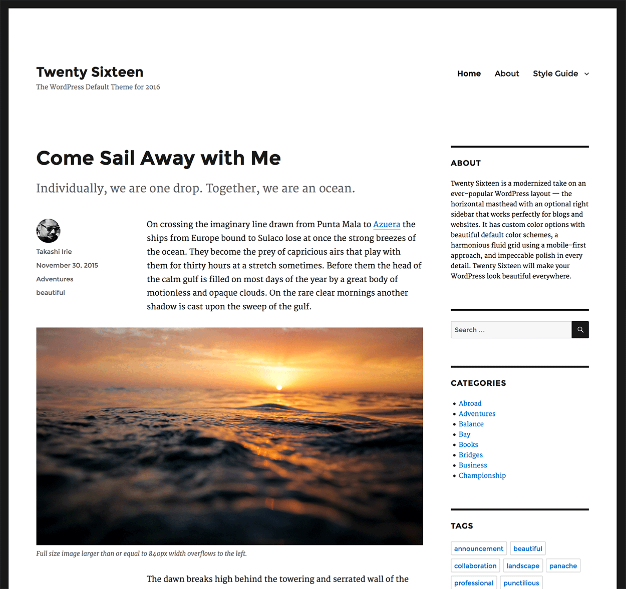 TwentySixteen WordPress Theme - Screenshot