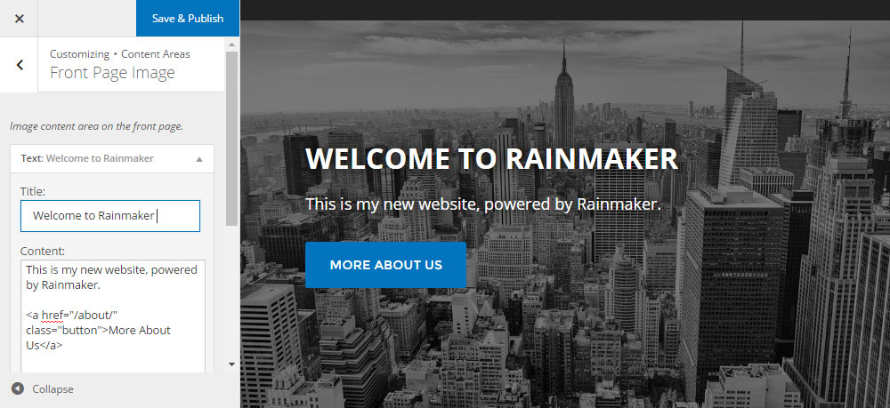 Rainmaker Review Custom Homepage