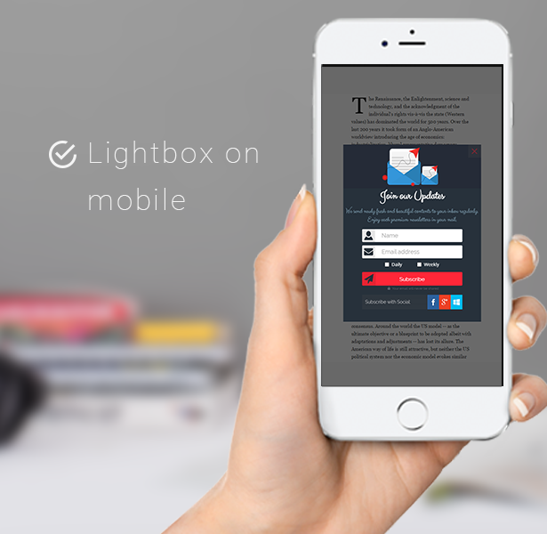 screenshot of lightbox on mobile preview for Chimpmate pro WordPress plugin for mailchimp