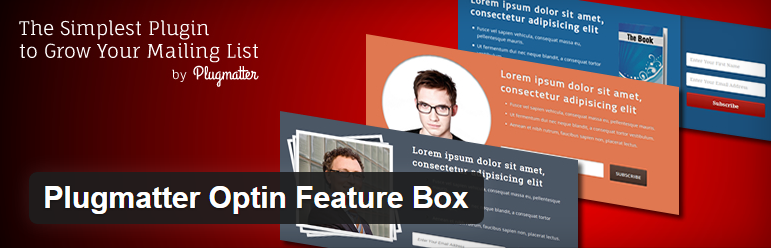 header image of Plugmatter Optin Feature Box plugin for WordPress