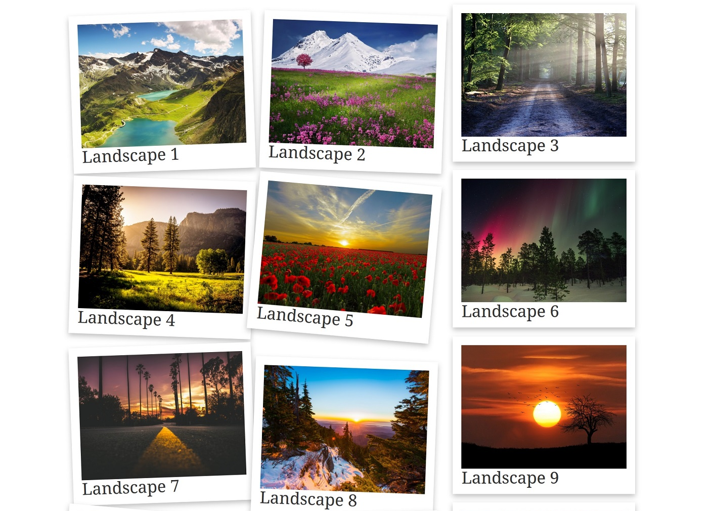 A screenshot of a 3-column gallery in polaroid style