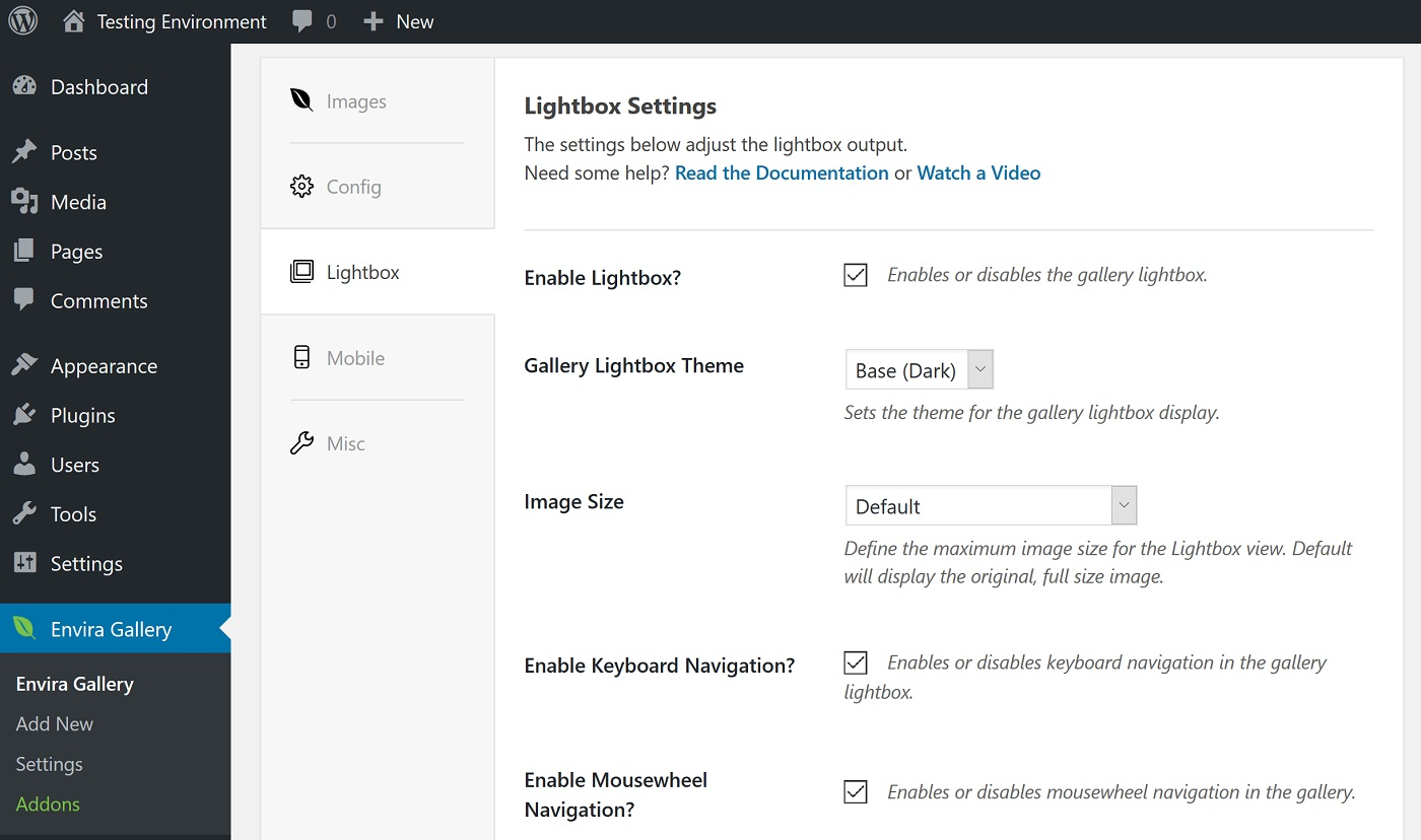 A screenshot of the lightbox configuration screen