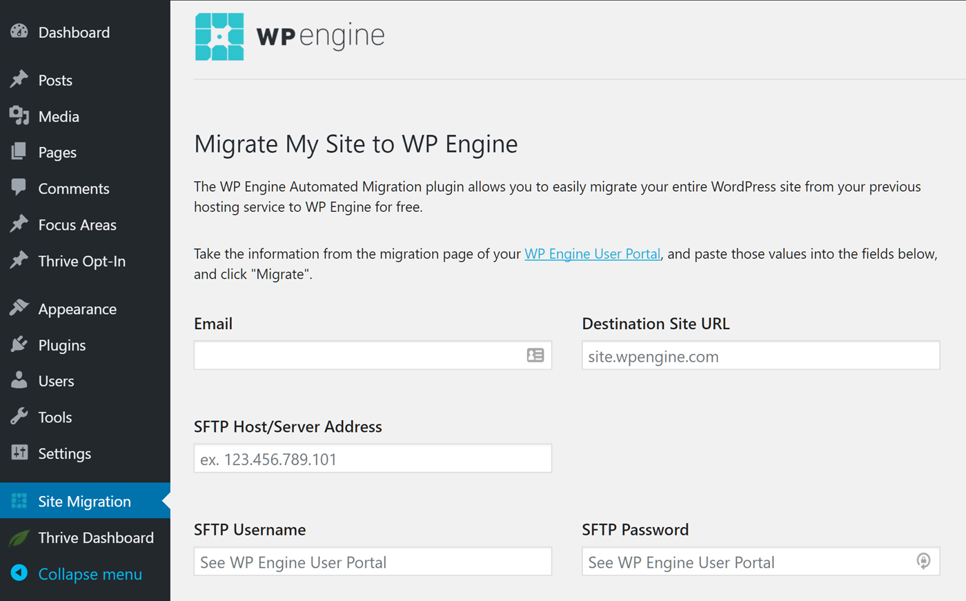 WP Engine Migration Controls
