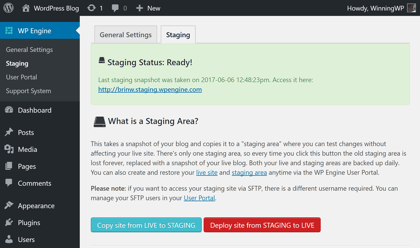 Create a staging site with WP Engine