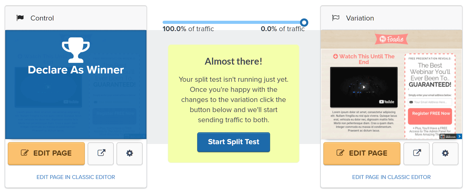 Optimizing pages with the split testing tool