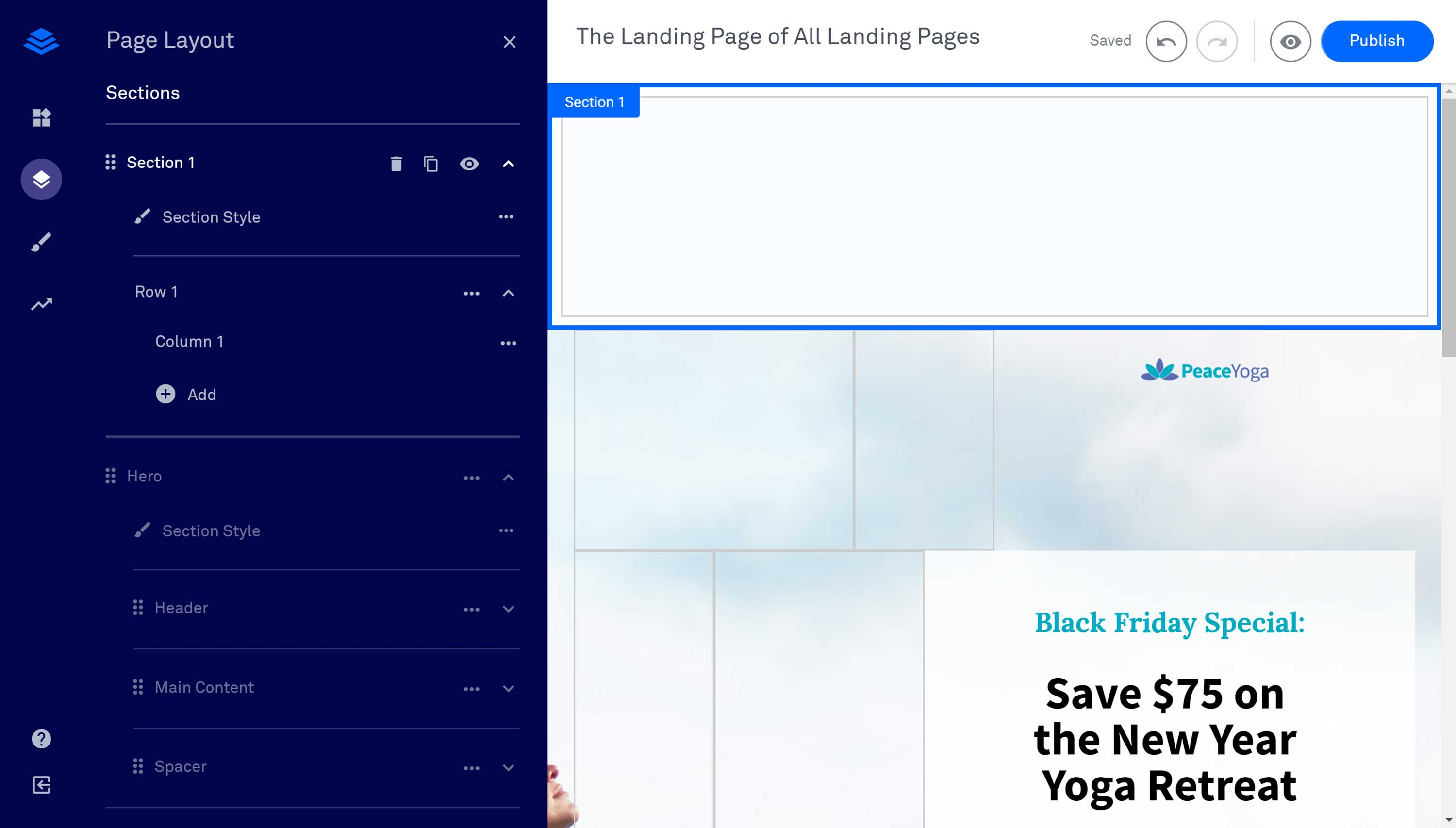 The Leadpages Drag-and-Drop Editor Sections