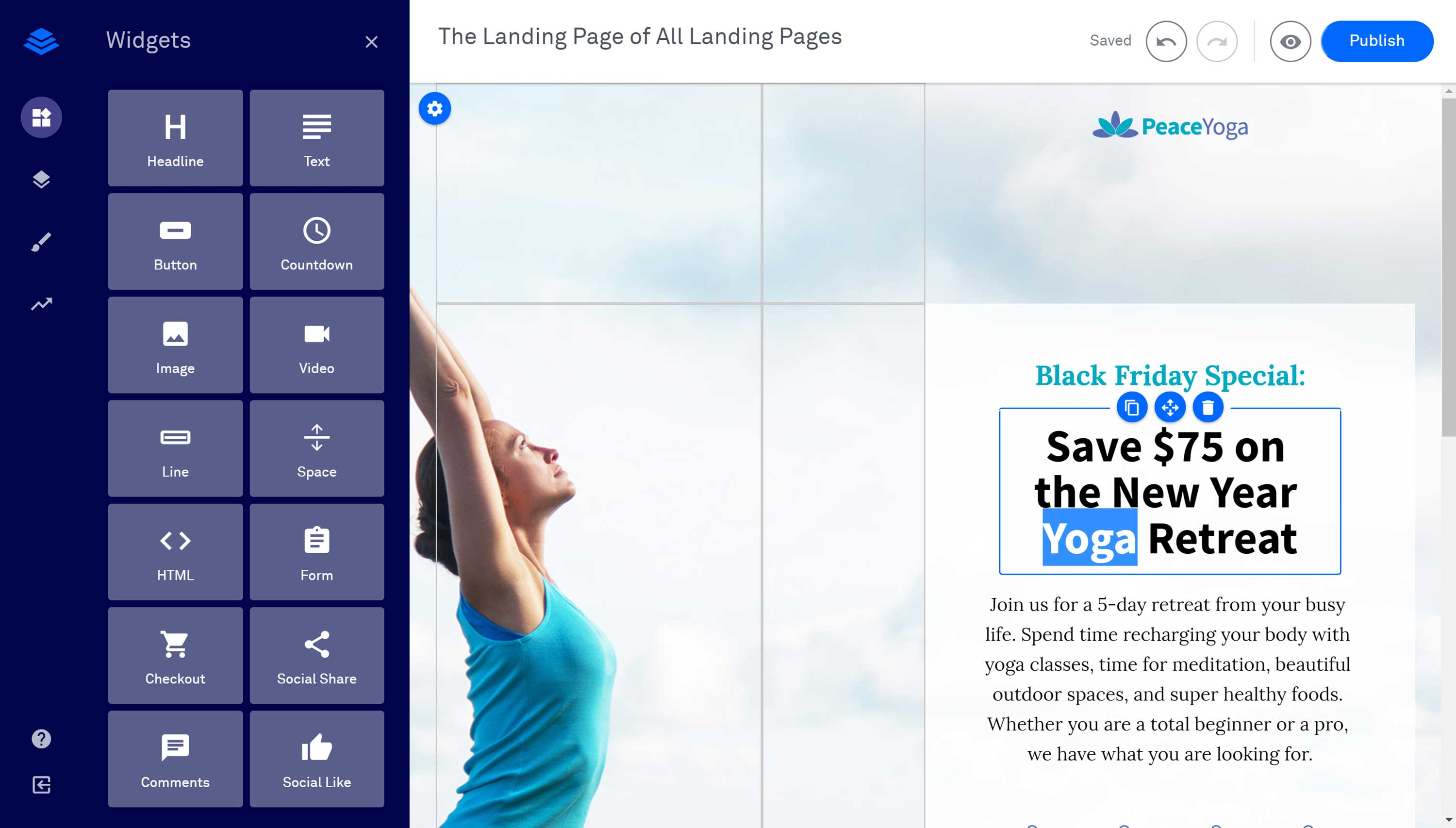 The Leadpages Drag-and-Drop Template Editor