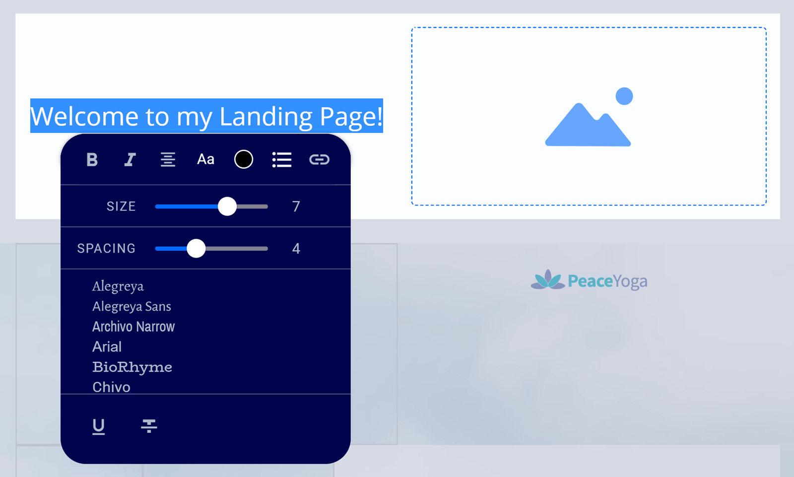 Editing text with the Leadpages editor