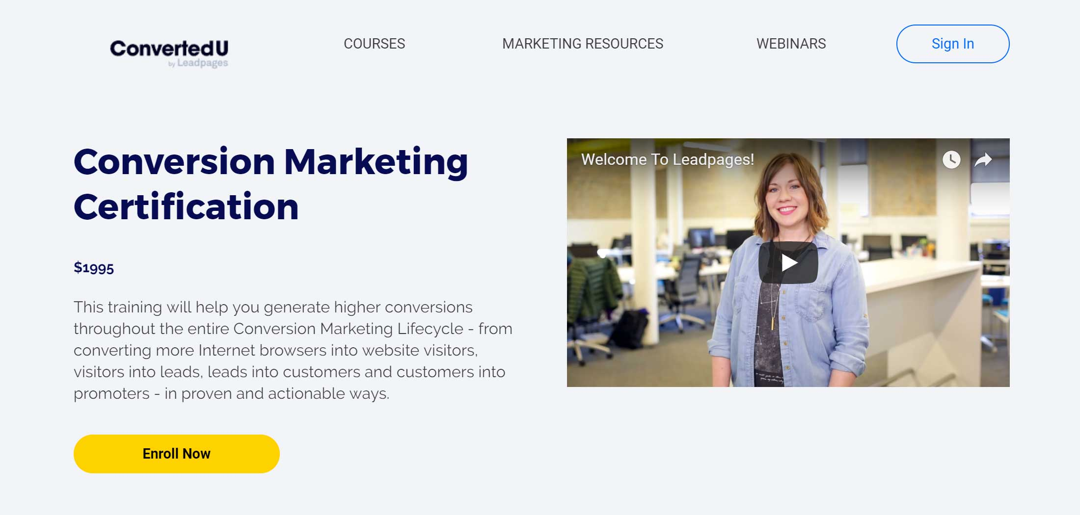 Leadpages Page Template for Video Sales