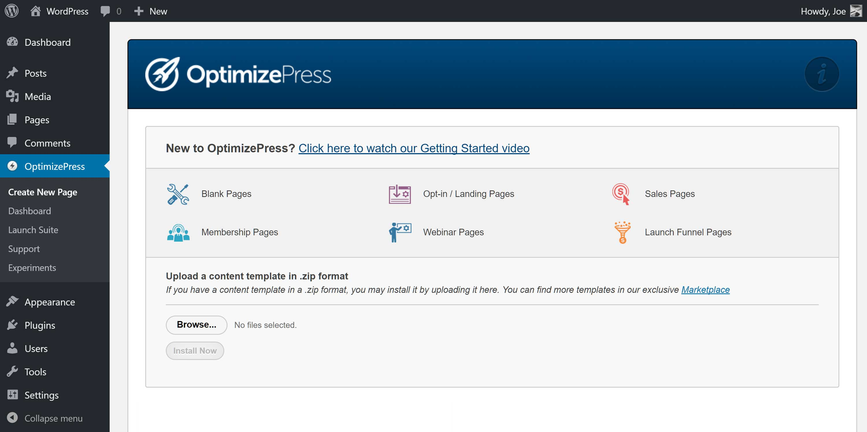 The OptimizePress Plugin Dashboard