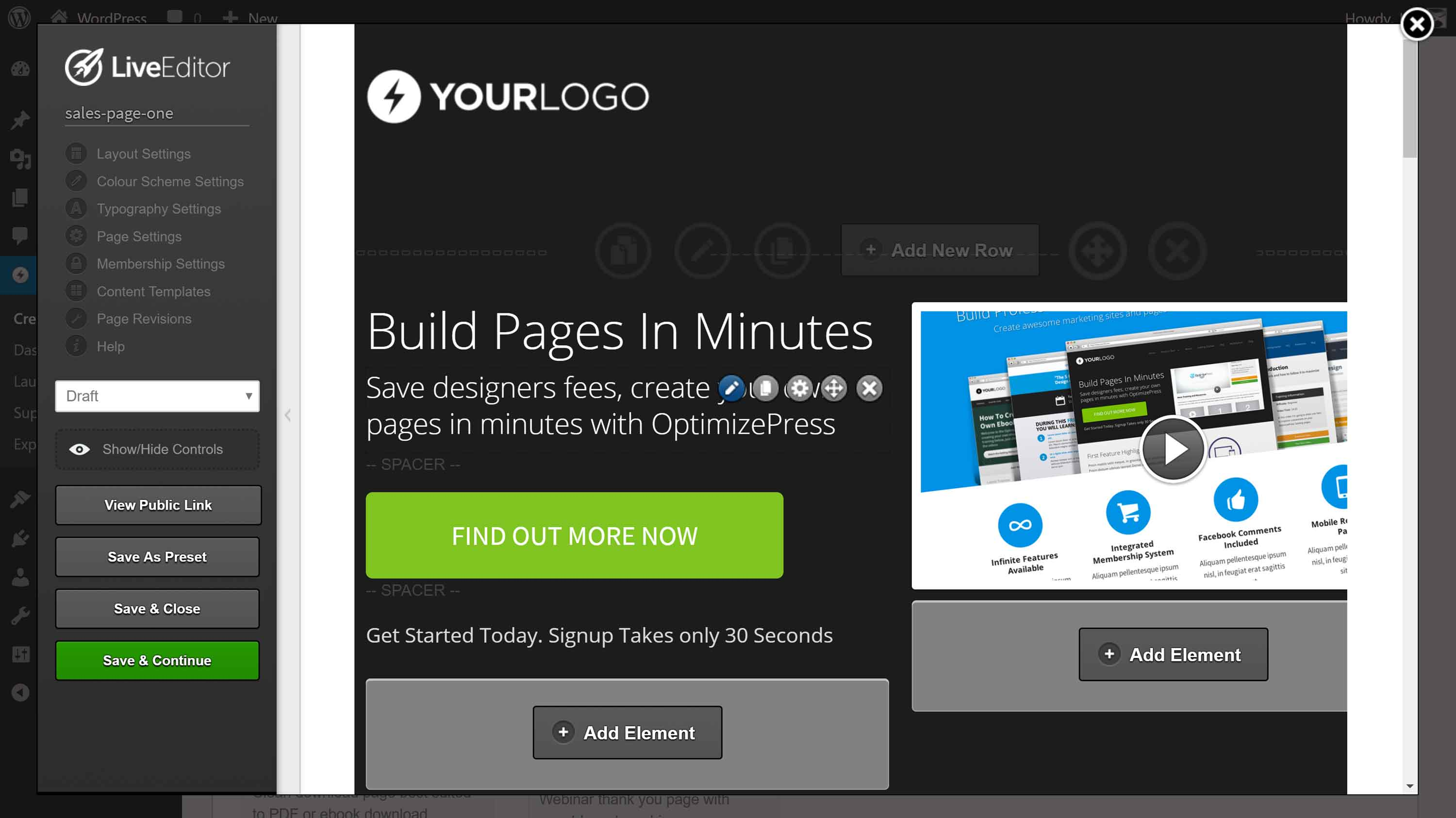The OptimizePress LiveEditor page builder tool