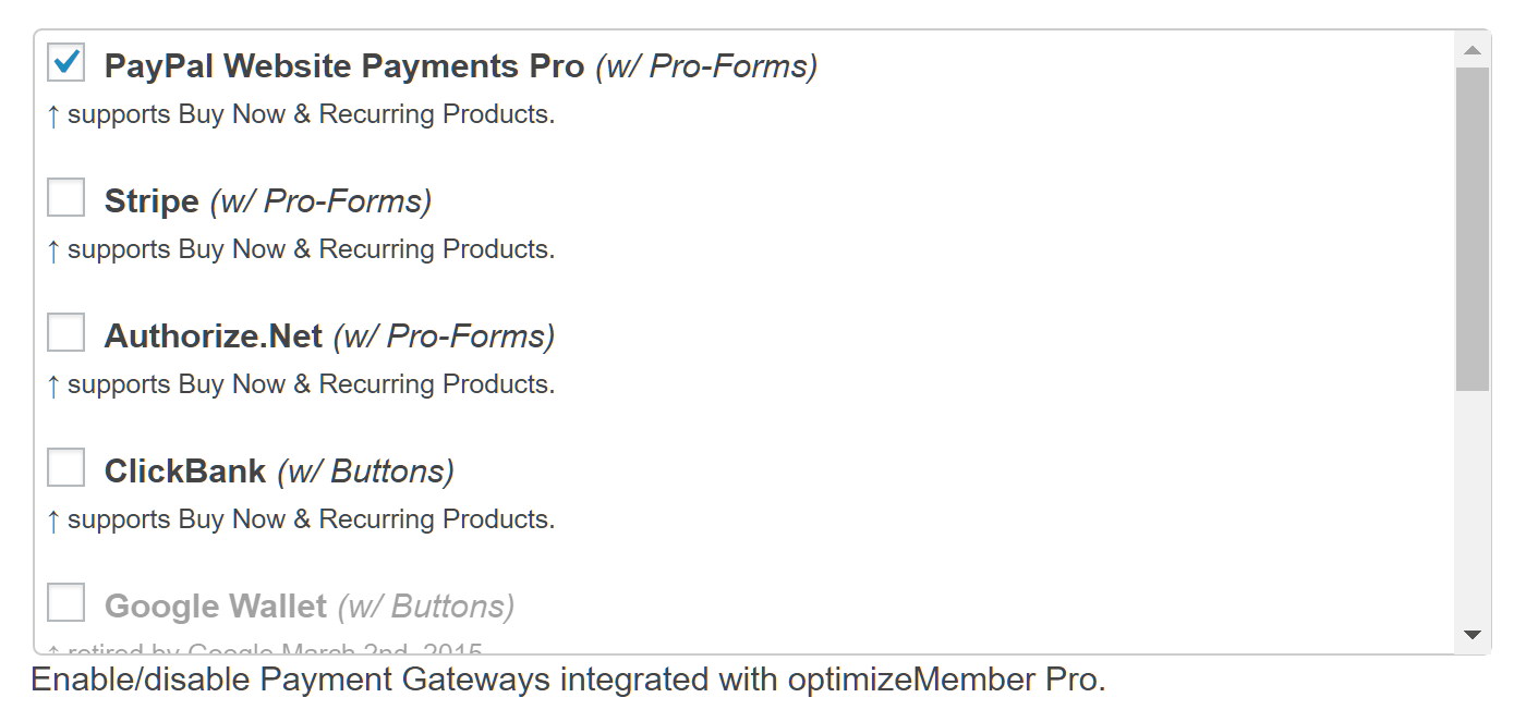 OptimizePress Payment Gateway Options