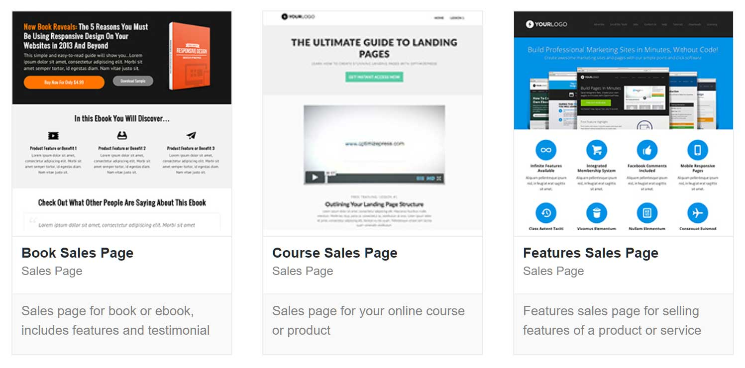 The OptimizePress Plugin Sales Page Templates