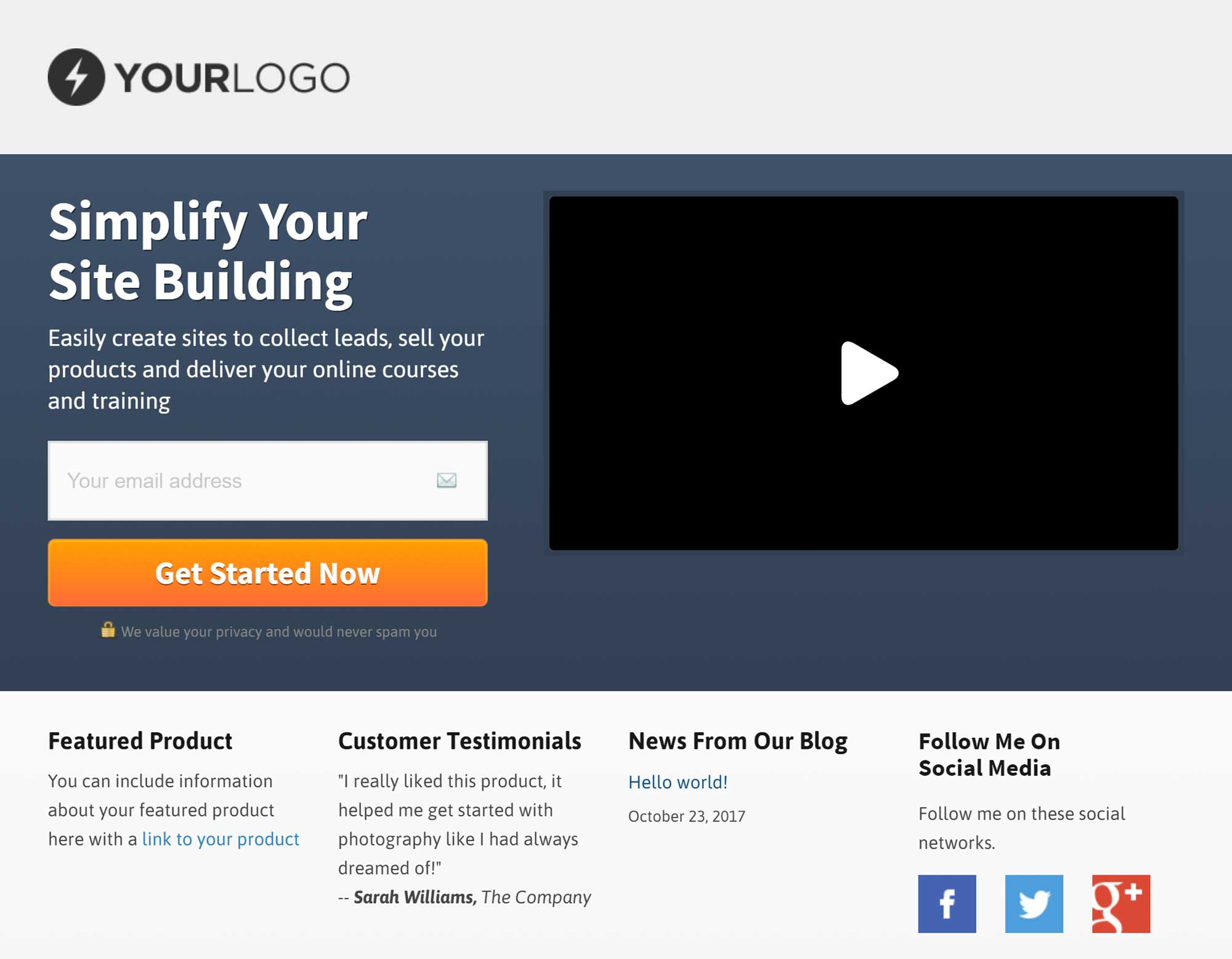 Example of an OptimizePress Landing Page Template