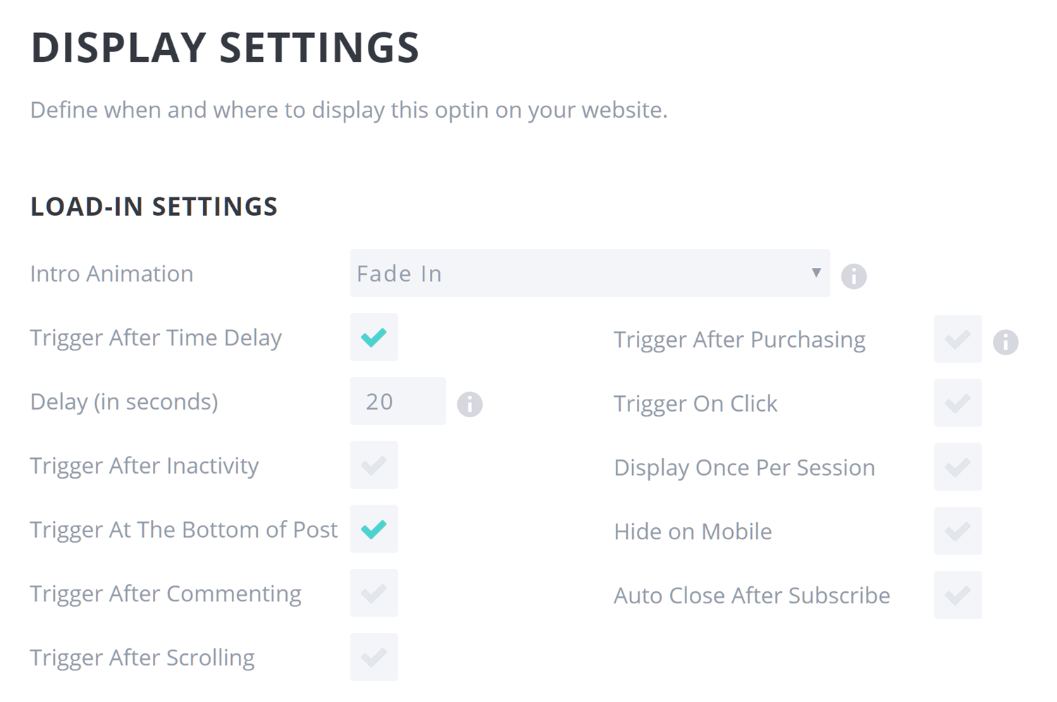 Bloom Optin Form Display Settings