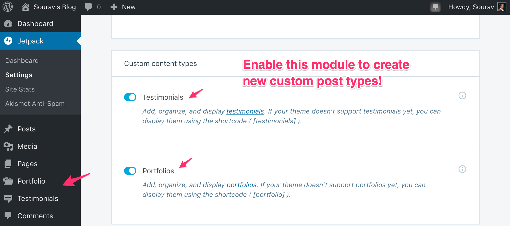 How to Enable Custom Post Type Module in Jetpack
