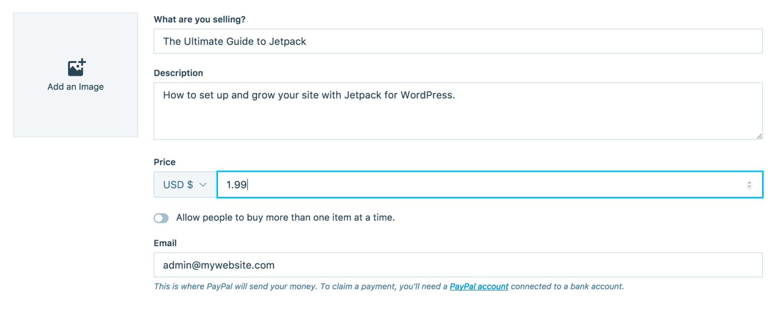 PayPal Payment Configuration Options from Jetpack