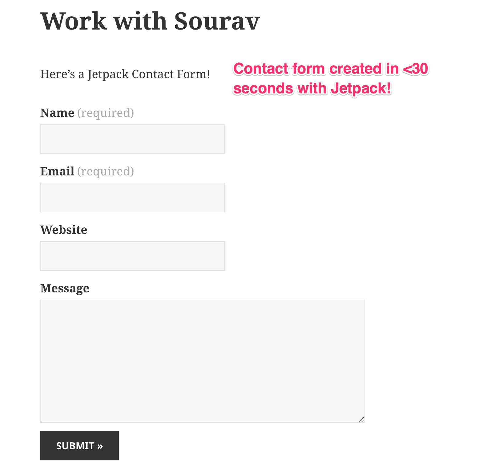 Example of Contact Form created by Jetpack