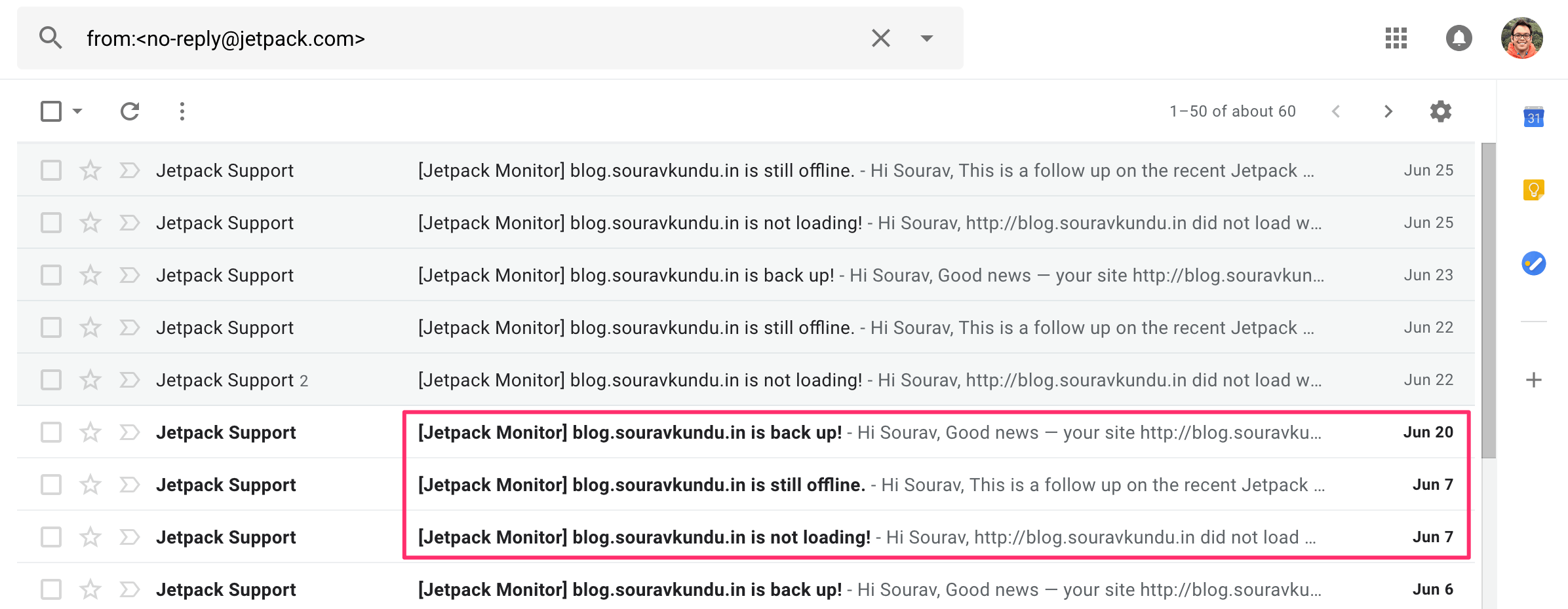 Email Notifications Sent by Jetpack's Site Monitoring Service