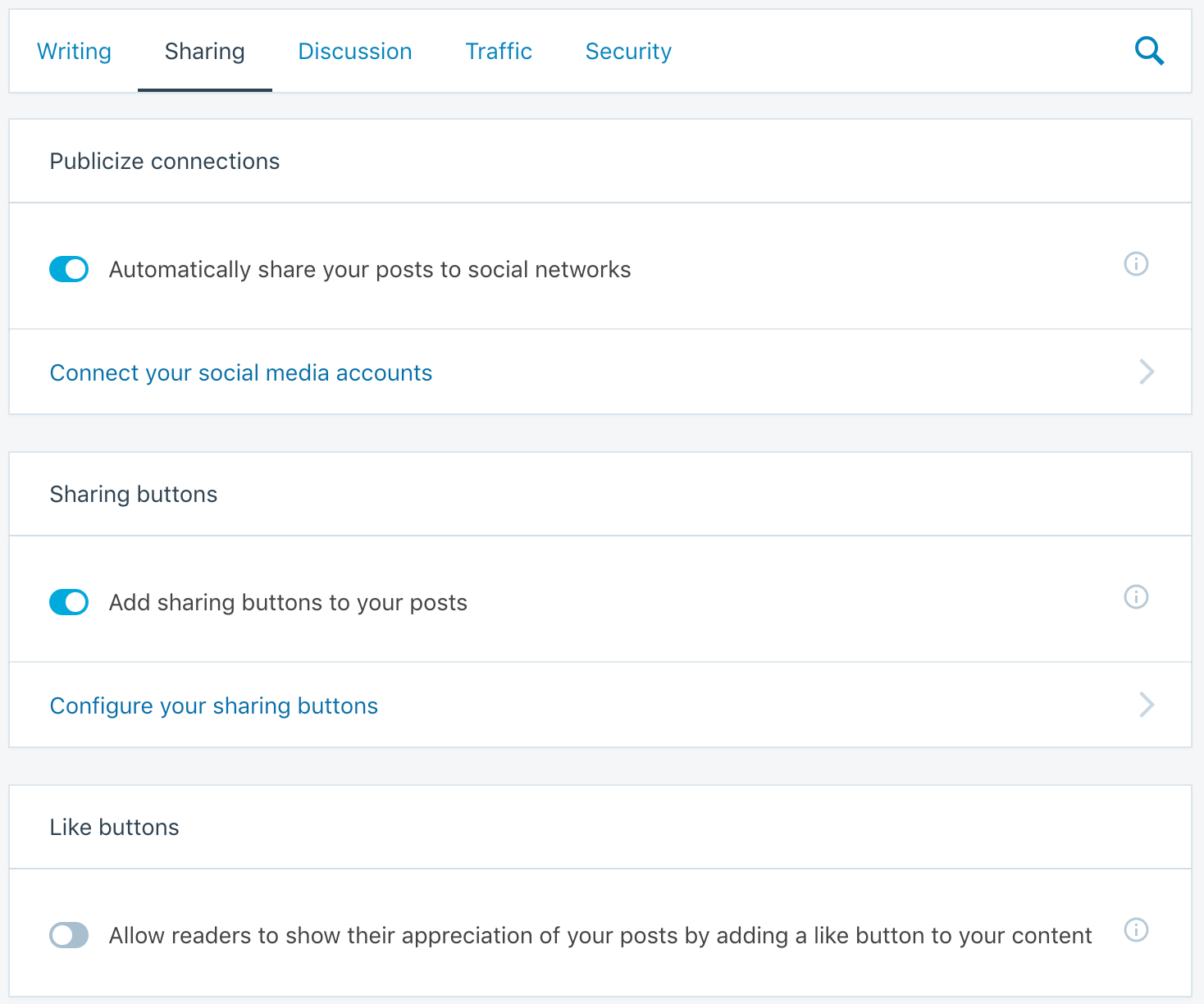 Social Sharing Settings in Jetpack