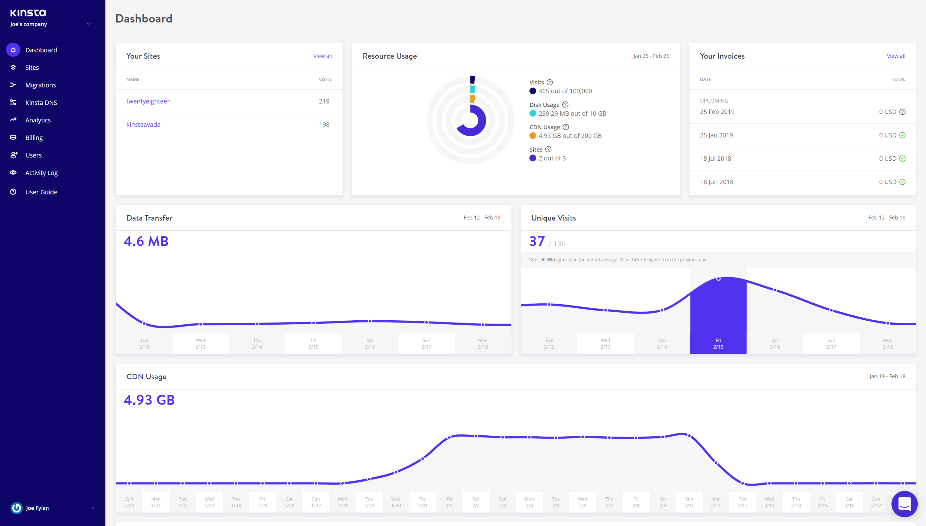 Kinsta Account Dashboard User Interface