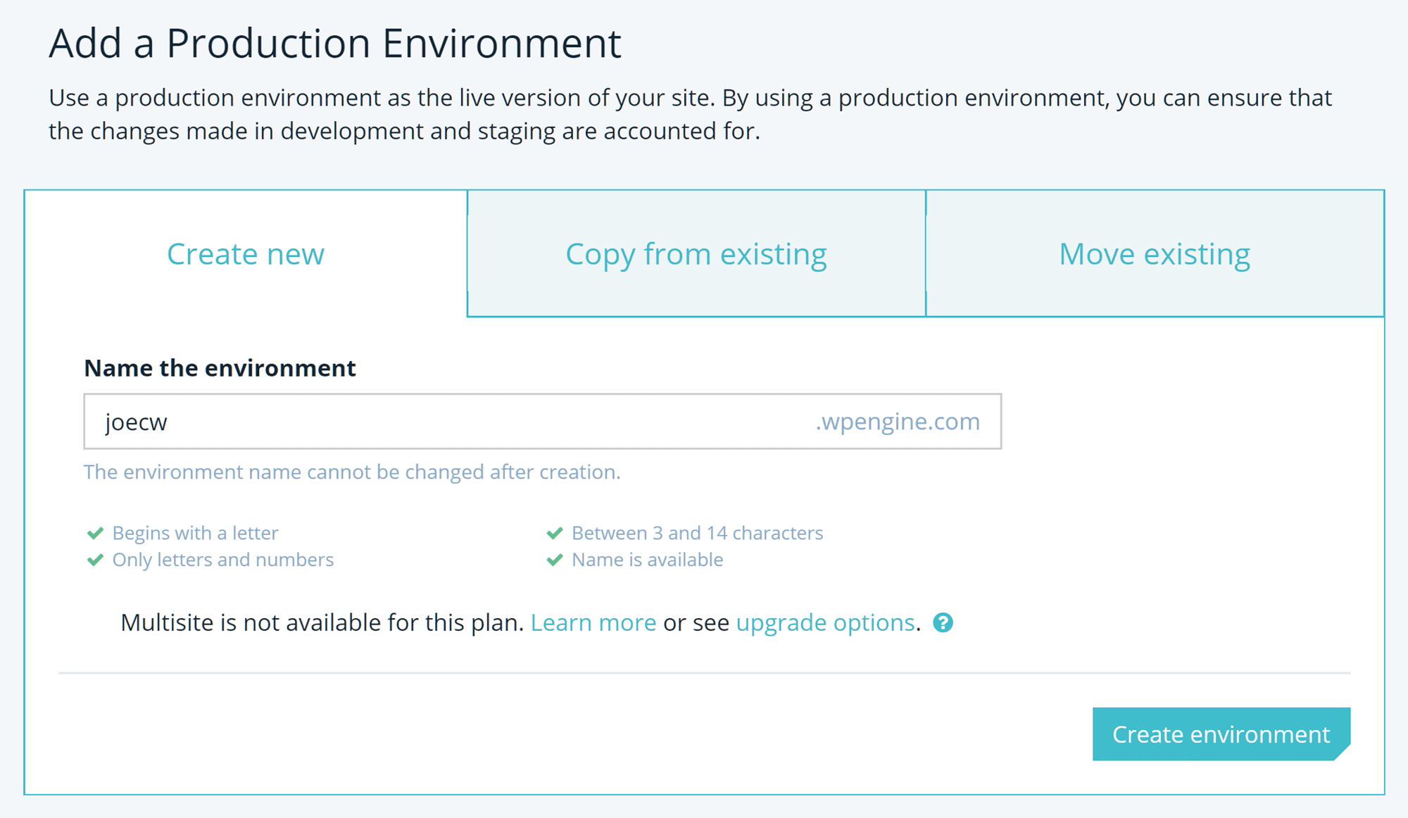 Create New Site with WP Engine