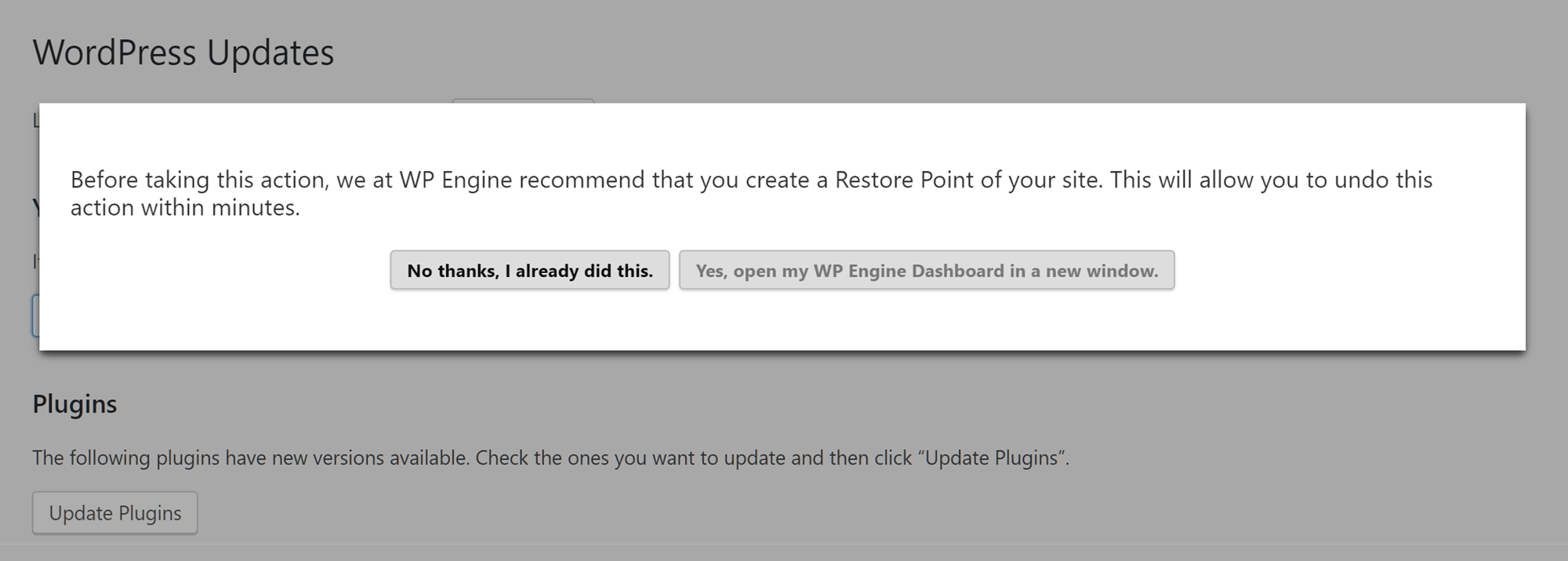 Create Restore Point in WP Engine