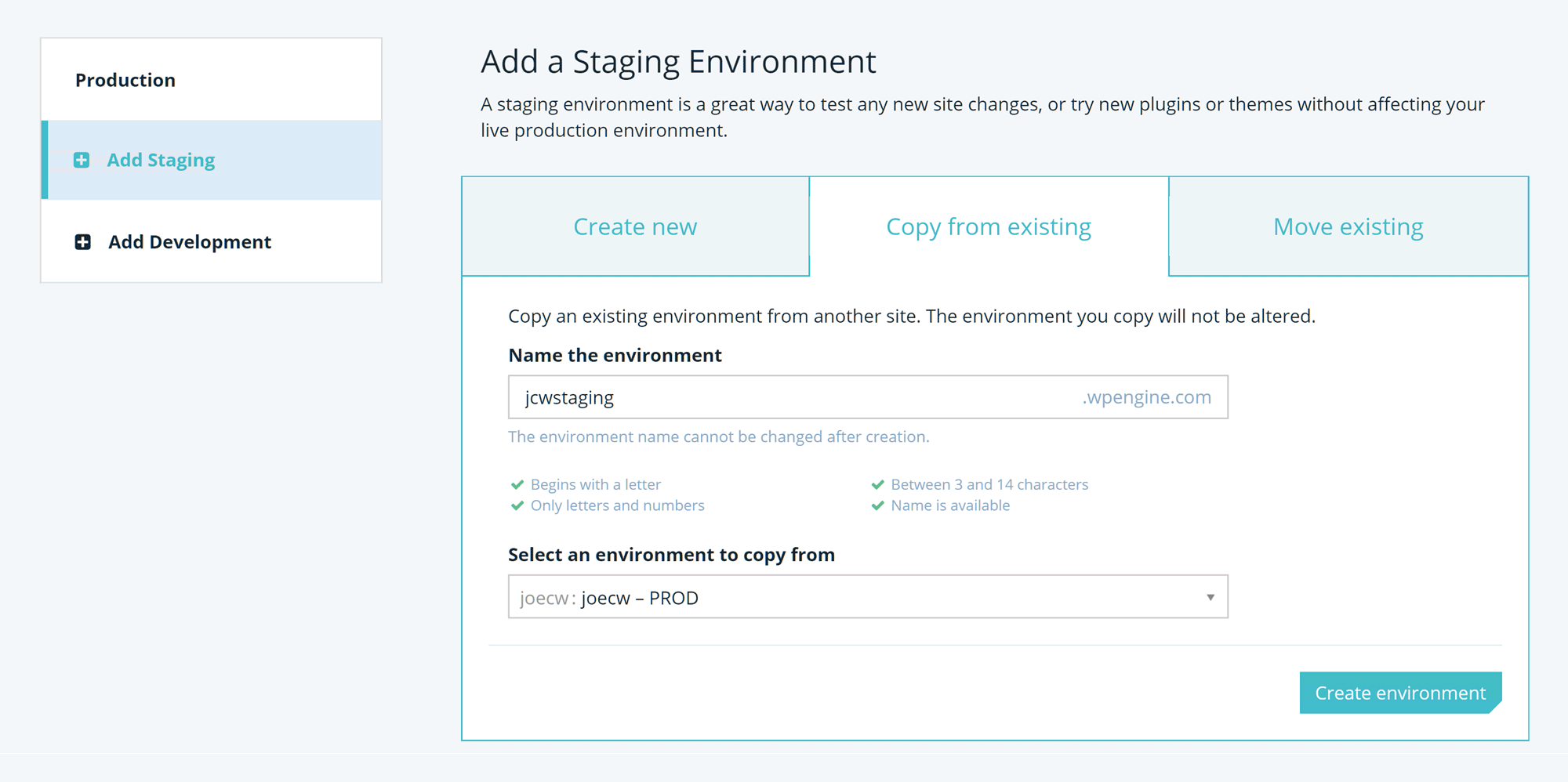 WP Engine Staging Site Set up