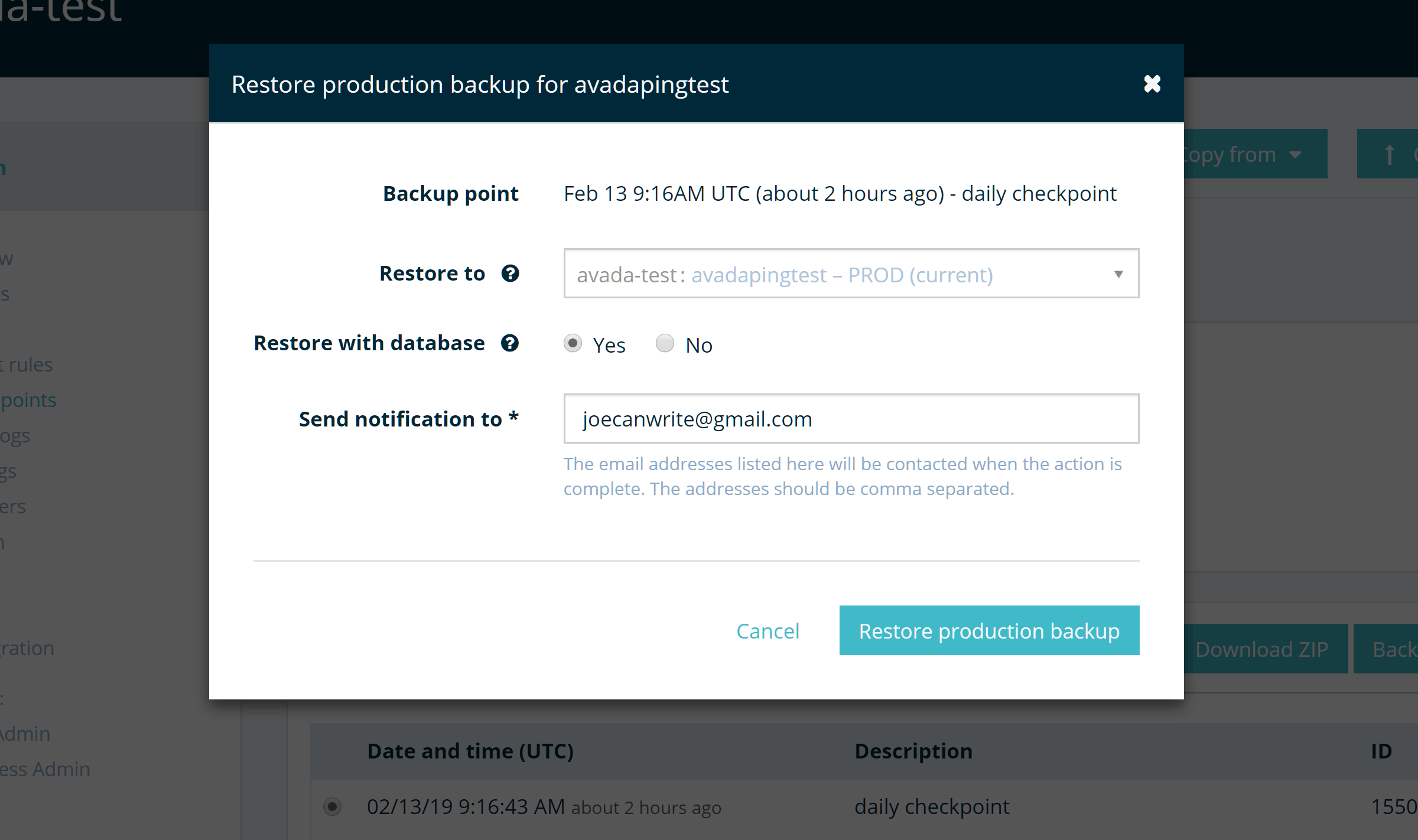 WP Engine Restore Backup Options