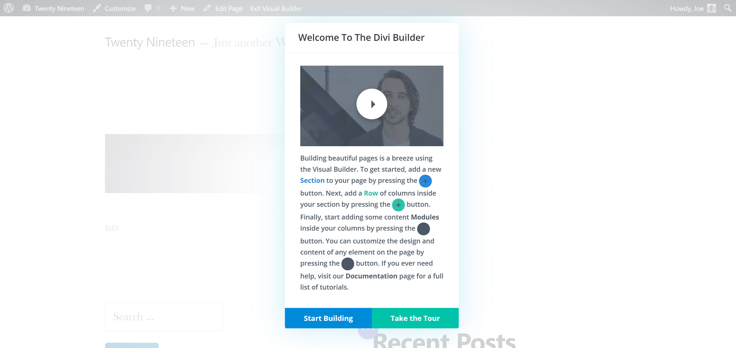 Divi Builder Welcome Tour