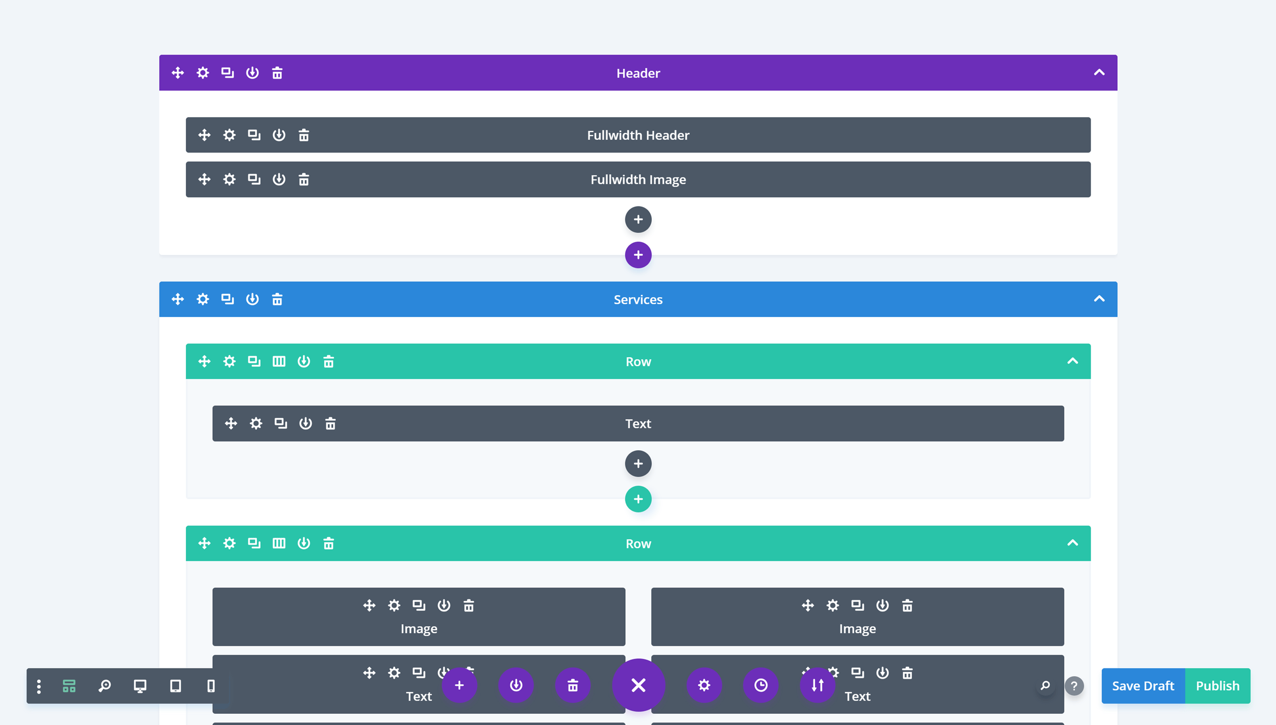 Divi Builder Wireframe User Interface
