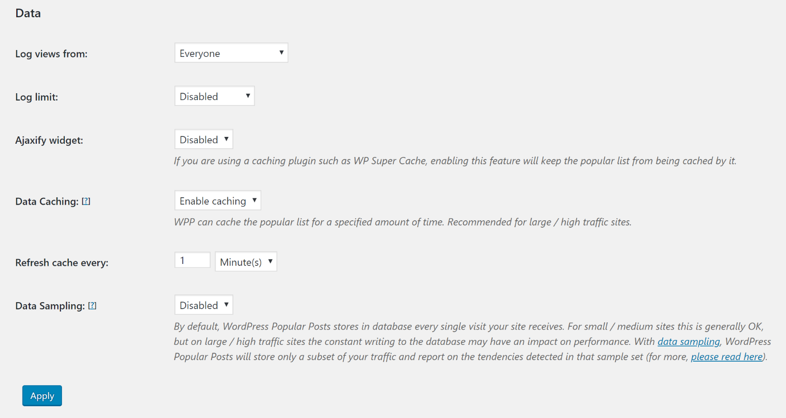 WordPress Popular Posts settings