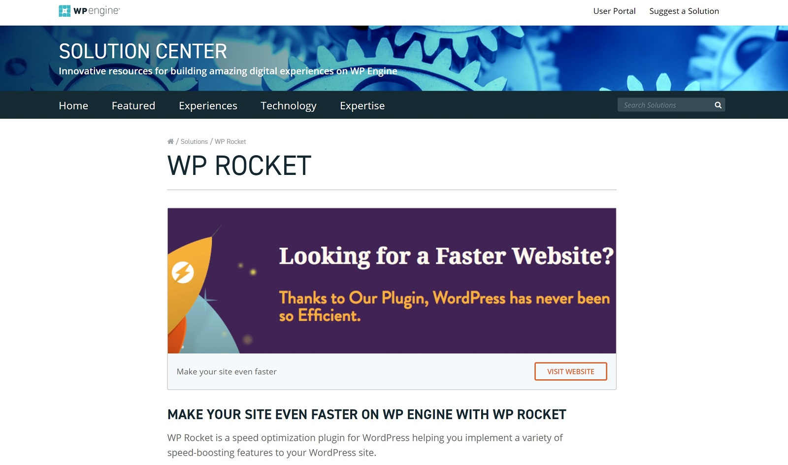 WP Rocket at the WP Engine Solution Center