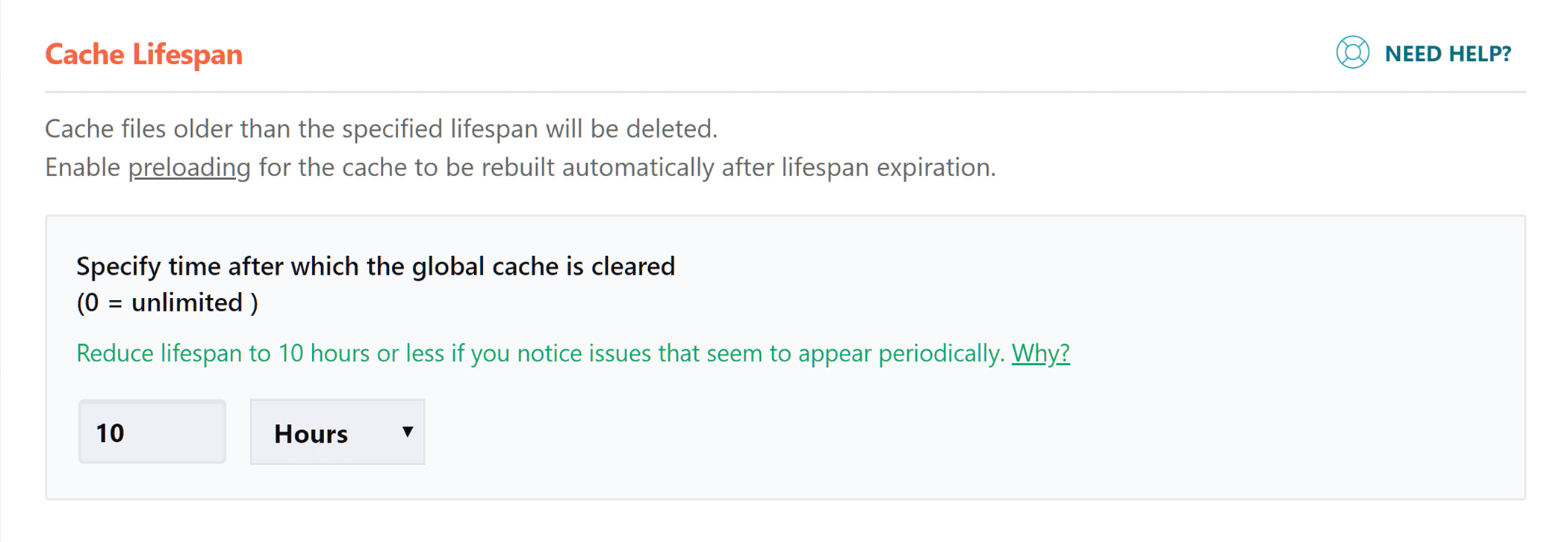 Cache Lifespan Settings