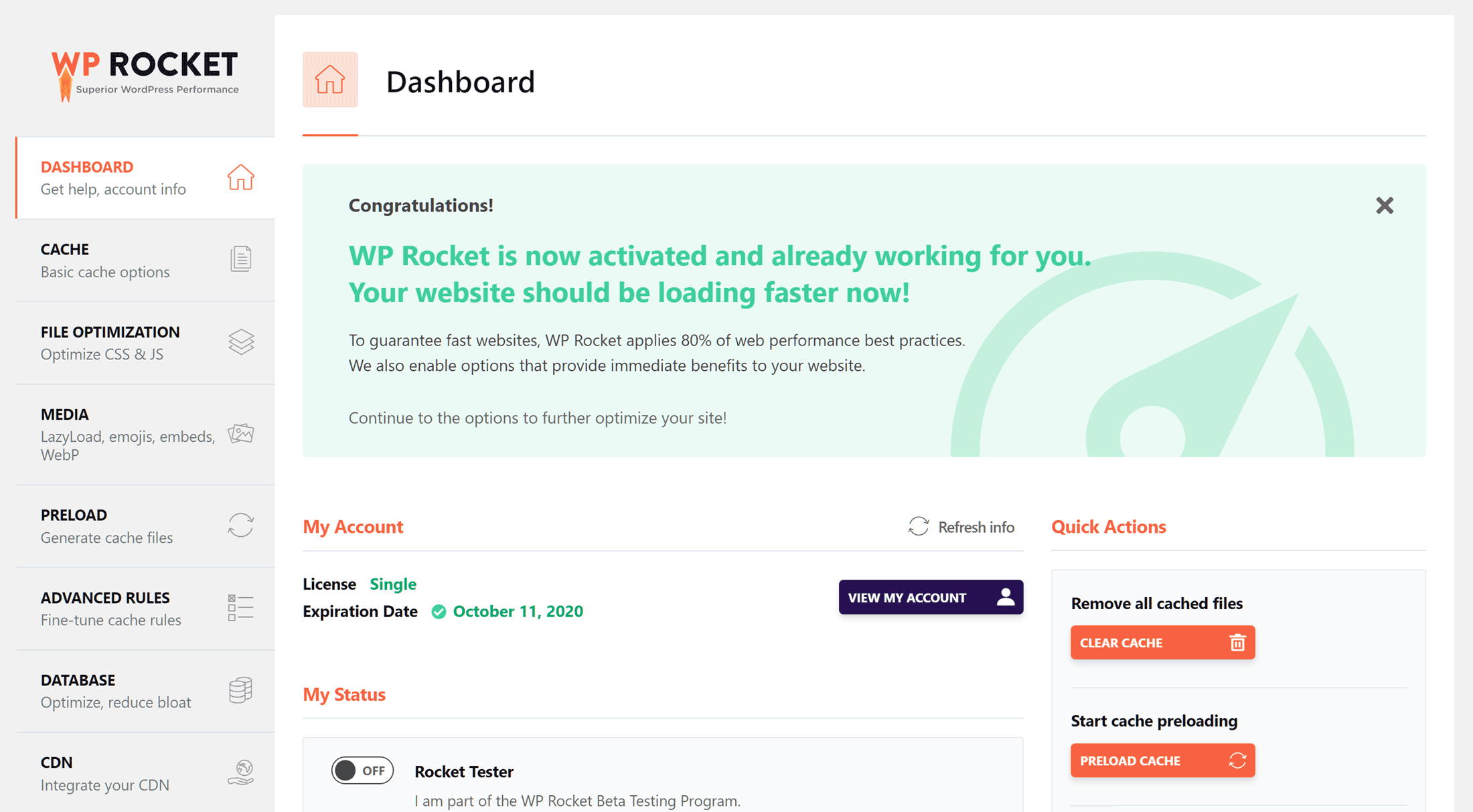 WP Rocket Dashboard