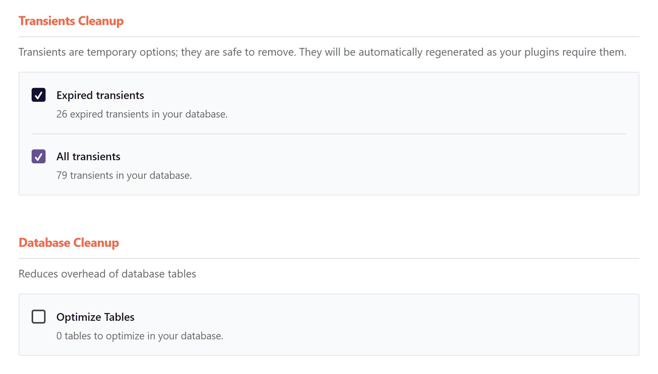 WP Rocket Database Optimization Settings